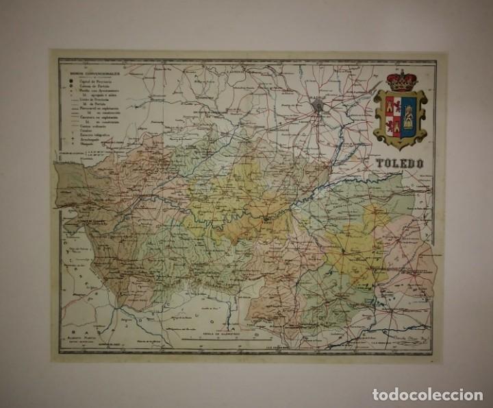 TOLEDO provincia - Mapa antiguo 1910 con Paspartú biselado 43,3cm x 36.2cm - 116863967