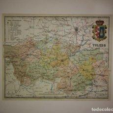 Mapas contemporáneos: TOLEDO PROVINCIA - MAPA ANTIGUO 1910 CON PASPARTÚ BISELADO 43,3CM X 36.2CM. Lote 116863967