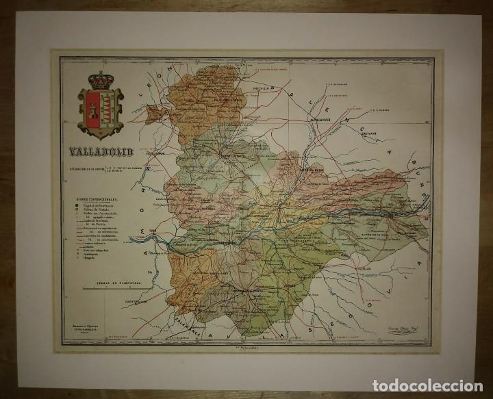 Mapas contemporáneos: VALLADOLID provincia - Mapa antiguo 1910 con Paspartú biselado 37,5 cm x 30,5 cm - Foto 2 - 116864143