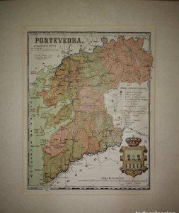 Pontevedra, mapa antiguo de la provincia