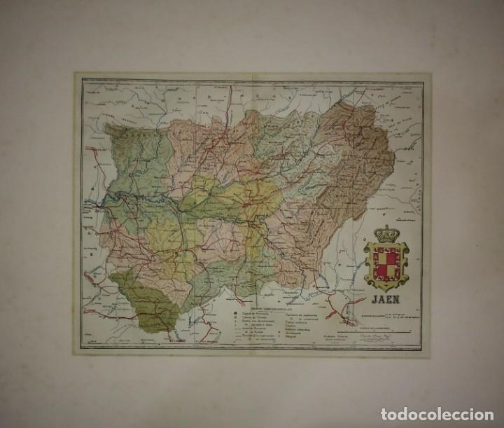JAÉN PROVINCIA - MAPA ANTIGUO 1910 CON PASPARTÚ BISELADO 44 CM X 37,8 CM (Coleccionismo - Mapas - Mapas actuales (desde siglo XIX))