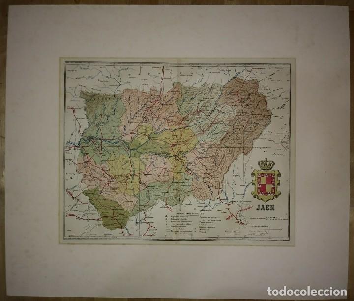 Mapas contemporáneos: JAÉN provincia - Mapa antiguo 1910 con Paspartú biselado 44 cm x 37,8 cm - Foto 2 - 116864607