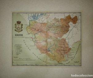 Cadiz, mapa antiguo de la provincia