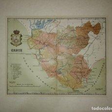 Mapas contemporáneos: 1910 CÁDIZ PROVINCIA. MAPA ANTIGUO 1910 CON PASPARTÚ BISELADO 46 CM X 39 CM. Lote 116864763