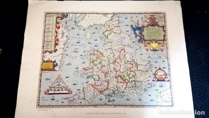 ANTIGUA LITOGRAFIA DE MAPA - SAXTON`S MAP OF ENGLAND AND WALES 1579 - BRITISH MESEUM-IMPRESO POR TAY (Coleccionismo - Mapas - Mapas actuales (desde siglo XIX))