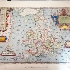 Mapas contemporáneos: ANTIGUA LITOGRAFIA DE MAPA - SAXTON`S MAP OF ENGLAND AND WALES 1579 - BRITISH MESEUM-IMPRESO POR TAY. Lote 153510058