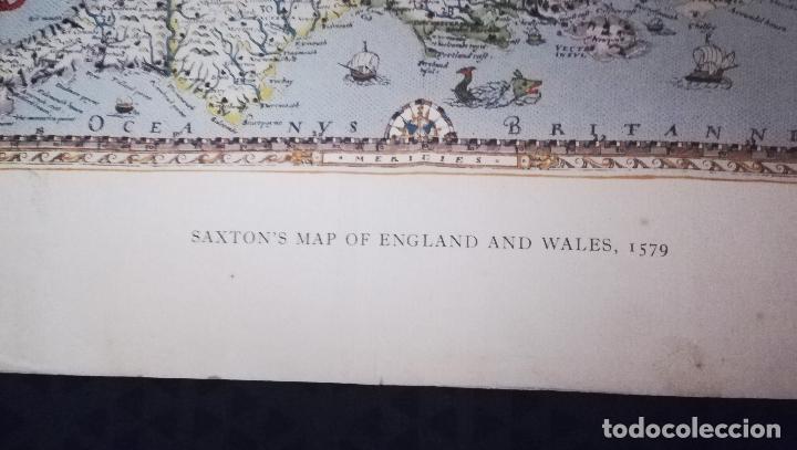 Mapas contemporáneos: Antigua litografia de Mapa - Saxton`s Map of England and Wales 1579 - British Meseum-Impreso Por Tay - Foto 2 - 153510058