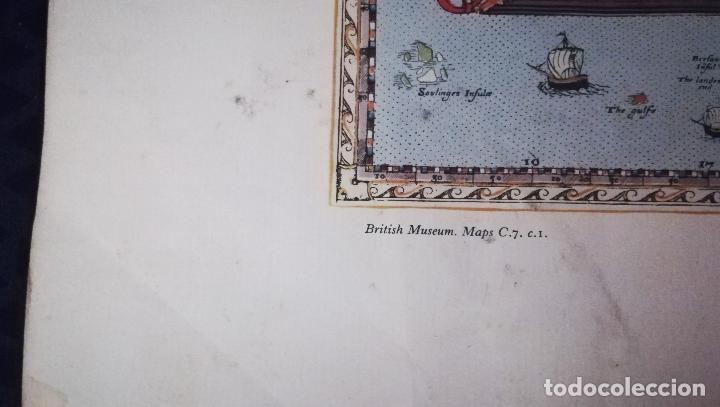 Mapas contemporáneos: Antigua litografia de Mapa - Saxton`s Map of England and Wales 1579 - British Meseum-Impreso Por Tay - Foto 3 - 153510058