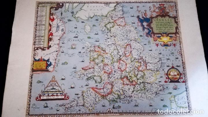 Mapas contemporáneos: Antigua litografia de Mapa - Saxton`s Map of England and Wales 1579 - British Meseum-Impreso Por Tay - Foto 5 - 153510058