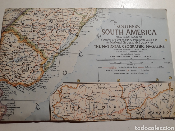 National Geographic MAP Southern S America March 1958
