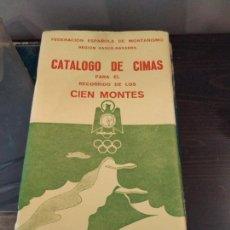 Mapas contemporáneos: CATALOGO DE CIMAS - CIEN MONTES - REGION VASCO NAVARRA 1968. Lote 154506378