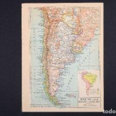 Mapas contemporáneos: MAPA SUDAMÉRICA, MAPA VINTAGE DE AMÉRICA, ARGENTINA, CHILE, URUGUAY, PARAGAY, ATLAS, MAPA VINTAGE, M. Lote 154966934