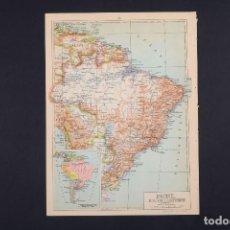 Mapas contemporáneos: BRASIL, MAPA DE BRASIL, BOLIVIA, GUAYANAS, MAPA VINTAGE DE AMÉRICA DEL SUR, ATLAS, MAPA VINTAGE, MA. Lote 154967322