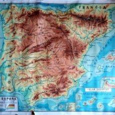 Mapas contemporáneos: MAPA. MAPA FISICO ESPAÑA. D.C.P GERONA-MADRID. DIB. X. COLL-IG-M. BOVE-BARNA.. Lote 155959218