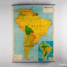 Mapas contemporáneos: MAPA ENTELADO ESCOLAR AMERICA DEL SUR VINTAGE SEIX BARRAL 60'S. Lote 245159500