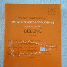 Mapas contemporáneos: BELEÑO. (ASTURIAS). MAPA DE CLASES AGROLOGICAS. ESCALA 1 : 50.000. EVALUACION DE RECURSOS AGRARIOS.. Lote 156683514