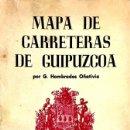 Mapas contemporáneos: MAPA DE CARRETERAS DE GUIPÚZCOA. G. HOMBRADOS OÑATIVIA.. Lote 156838946