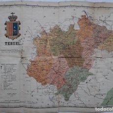 Mapas contemporáneos: ANTIGUO MAPA DE TERUEL , REVERSO EN TELA. Lote 156962126