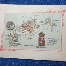 Mapas contemporáneos: ESCUDO Y MAPA GRABADO O SIMILAR ORIGINAL DE 1901 A 1915 APROXIMADAMENTE - ESPAÑA - ISLAS BALEARES. Lote 158990386