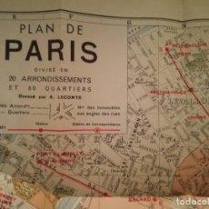 Mapas contemporáneos: PLAN DE PARIS.. Lote 159287046