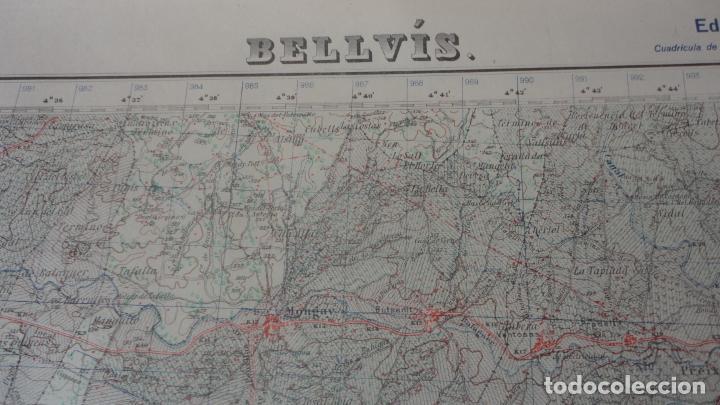 Mapas contemporáneos: ANTIGUO MAPA BELLVIS LLEIDA.EDICION MILITAR 1949 - Foto 2 - 160621910