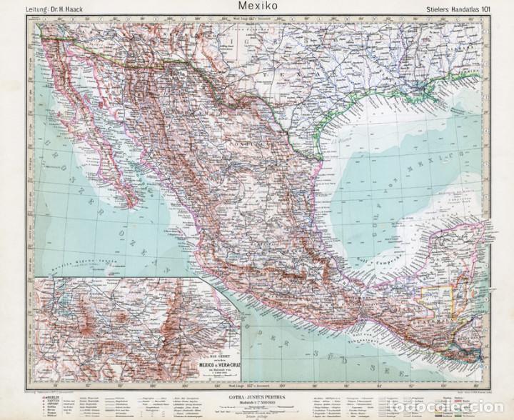 Mejico O Mexico Mapa.Mapa Grabado Cobre De Mexico Mejico Stielers Hand Atlas Edicion Del Centenario 1931