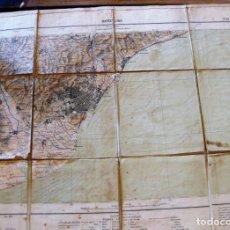 Mapas contemporáneos: MAPA ENTELADO BARCELONA Nº 35 MANCOMUNITAT CATALUNYA MAPA 40/50 CM LINEAS DE SONDA. Lote 161710582