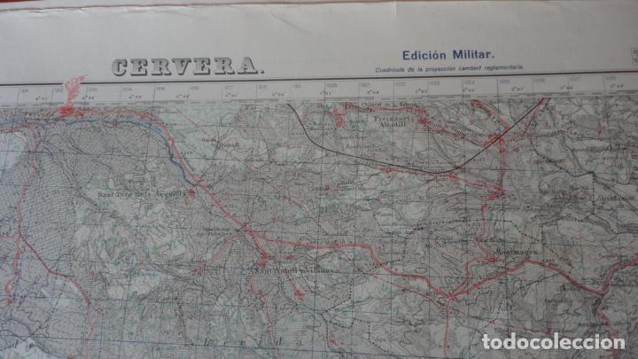 Mapas contemporáneos: ANTIGUO MAPA CERVERA.LERIDA EDICION MILITAR 1950 - Foto 2 - 162682654