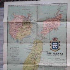 Mapas contemporáneos: MAPA EN TELA DE LAS PALMAS DE GRAN CANARIAS. 1930 (DE BENITO CHÍAS). Lote 164831310