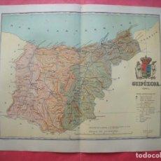 Mapas contemporáneos: GUIPUZCOA.-MAPA.-ATLAS GEOGRAFICO DE ESPAÑA.-MANUEL ESCUDE.-LITOGRAFIA A. MARTIN.-BENITO CHIAS.-1901. Lote 164983702