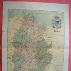 Mapas contemporáneos: LUGO.-MAPA.-ATLAS GEOGRAFICO DE ESPAÑA.-MANUEL ESCUDE.-LITOGRAFIA A. MARTIN.-BENITO CHIAS.-SIN AÑO.. Lote 165370570