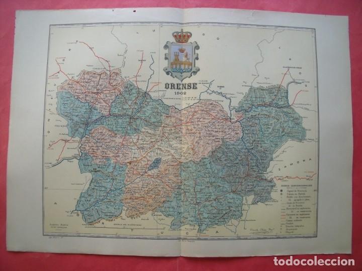 ORENSE.-MAPA.-ATLAS GEOGRAFICO DE ESPAÑA.-MANUEL ESCUDE.-LITOGRAFIA A. MARTIN.-BENITO CHIAS.AÑO 1902 (Coleccionismo - Mapas - Mapas actuales (desde siglo XIX))