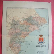 Mapas contemporáneos: ALICANTE.-MAPA.-ATLAS GEOGRAFICO DE ESPAÑA.-MANUEL ESCUDE.-LITOGRAFIA A. MARTIN.-BENITO CHIAS.-1901.. Lote 165374102