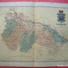 Mapas contemporáneos: LOGROÑO.-MAPA.-ATLAS GEOGRAFICO DE ESPAÑA.-MANUEL ESCUDE.-LITOGRAFIA A. MARTIN.-BENITO CHIAS.-1903.. Lote 165374962