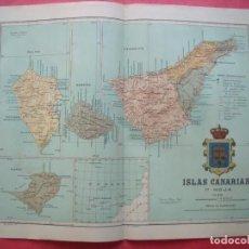 Mapas contemporáneos: ISLAS CANARIAS.-MAPA.-ATLAS GEOGRAFICO DE ESPAÑA.-MANUEL ESCUDE.-LITOGRAFIA A. MARTIN.-B. CHIAS.1902. Lote 165376054