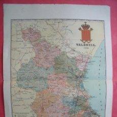 Mapas contemporáneos: VALENCIA.-MAPA.-ATLAS GEOGRAFICO DE ESPAÑA.-MANUEL ESCUDE.-LITOGRAFIA A. MARTIN.-BENITO CHIAS.-1902.. Lote 165407958