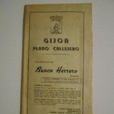 Mapas contemporáneos: GIJON. PLANO CALLEJERO. UNA GENTILEZA DEL BANCO HERRERO. AÑO 1975.. Lote 166462654