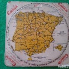 Mapas contemporáneos: DISCO GIRATORIO Y KILOMETRICO DE LAS PRINCIPALES CARRETERAS DE ESPAÑA PUBLICIDAD RAFAEL CARRION SEVI. Lote 168747076