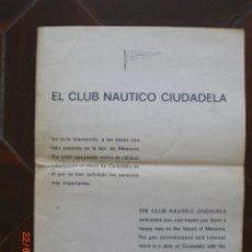 Mapas contemporáneos: PLANO DE CIUDADELA EDITADO POR EL CLUB NÁUTICO CIUDADELA. 1975. (MENORCA.3.4). Lote 169311524
