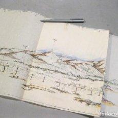 Mapas contemporáneos: DIBUJO A MANO DEL PERFIL DE LA SIERRA DE GUADARRAMA. SEGOVIA. FINCA ORTEGA, PEÑALARA, MUJER MUERTA. Lote 169453292
