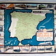Mapas contemporáneos: ANTIGUO MAPA FERROVIARIO DE ESPAÑA. EVOLUCIÓN DEL FERROCARRIL. SEGUROS SANTA .1965. Lote 169753560