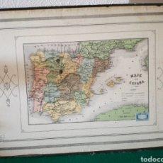 Mapas contemporáneos: MAPA DE ESPAÑA PEGADO SOBRE CARTON. Lote 169875986