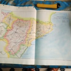 Mapas contemporáneos: DIBUJADO EN 1939 MAPA TAREA ALUMNO DE COLEGIO GEOGRAFIA ESPAÑA NAVARRA CATALUÑA ARAGON 47X32. Lote 170025688