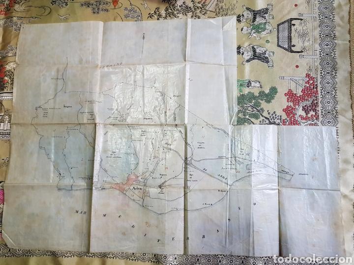 MAPA MUNICIPIO ADRA (ALMERÍA) HECHO A MANO. PAPEL LAMINADO PLASTIFICADO. AÑOS 50 (Coleccionismo - Mapas - Mapas actuales (desde siglo XIX))