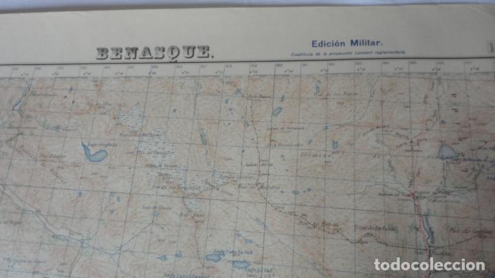 Mapas contemporáneos: ANTIGUO MAPA BENASQUE.HUESCA EDICION MILITAR 1950 - Foto 2 - 171476004