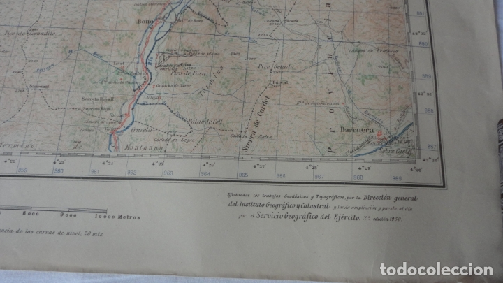 Mapas contemporáneos: ANTIGUO MAPA BENASQUE.HUESCA EDICION MILITAR 1950 - Foto 3 - 171476004