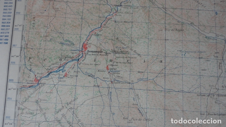 Mapas contemporáneos: ANTIGUO MAPA BENASQUE.HUESCA EDICION MILITAR 1950 - Foto 7 - 171476004