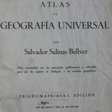 Mapas contemporáneos: ANTIGUO ATLAS GEOGRÁFIA UNIVERSAL, MUY ILUSTRADO 102 MAPAS - SALVADOR SALINAS BELLVER 1956 - INDICE. Lote 171737569