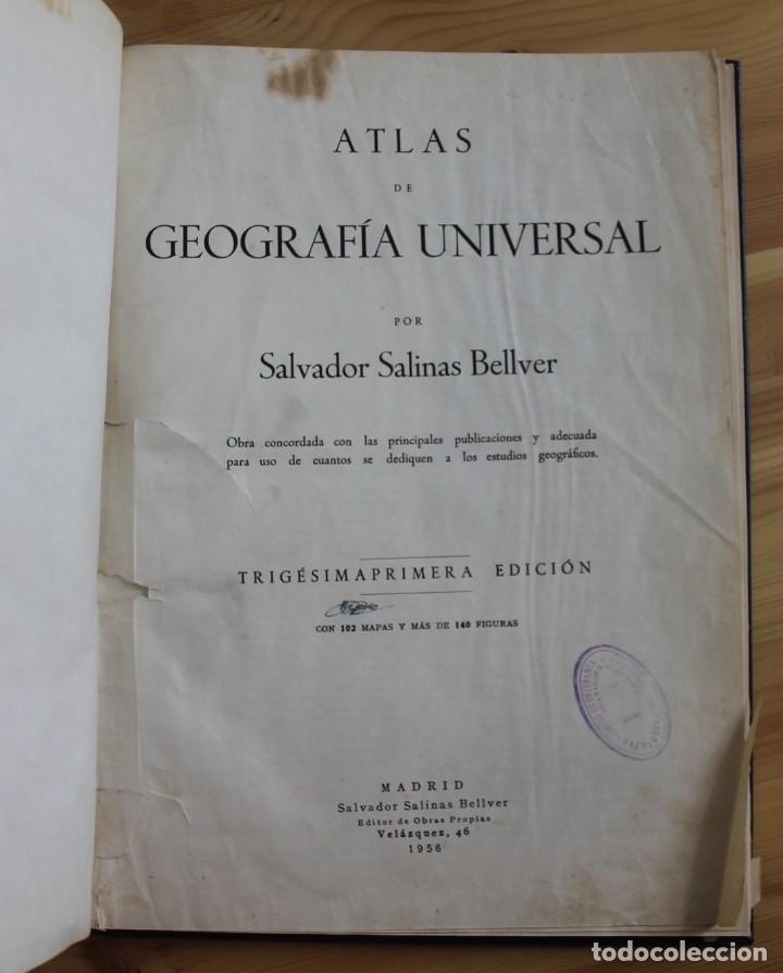 Mapas contemporáneos: ANTIGUO ATLAS GEOGRÁFIA UNIVERSAL, MUY ILUSTRADO 102 MAPAS - SALVADOR SALINAS BELLVER 1956 - INDICE - Foto 2 - 171737569
