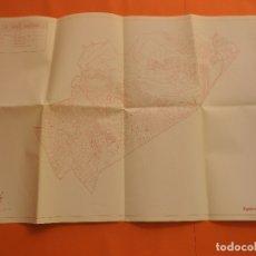 Mapas contemporáneos: AÑO 1987 PLANO DE NOU BARRIS BARCELONA HABITANTES SUPERFICIE. Lote 174220935